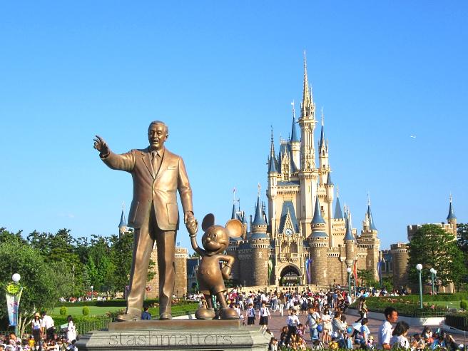 Walt Disney and Mickey statue at Tokyo Disneyland