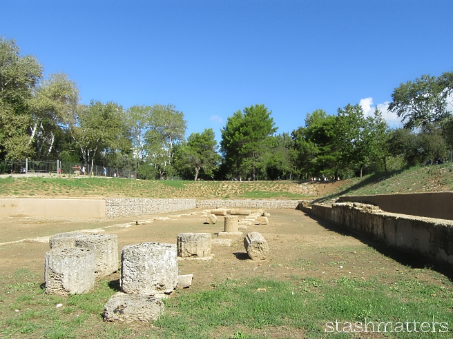 The site of the original Olympic Games was much different than we had pictured in our minds - it was much greener than we expected. And most of the buildings were pretty much gone except for a few pillars here and there - a lot of imagination was required here.