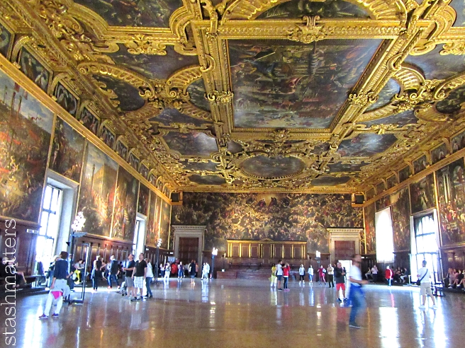 One of the many awe-inspiring grand rooms inside Palazzo Ducale (Doge's Palace). Every surface is covered in ornate paintings / decorations.